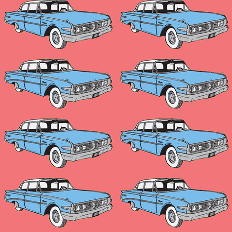 Big 1960Ranger in light blue fabric by edsel2084 on Spoonflower - custom fabric