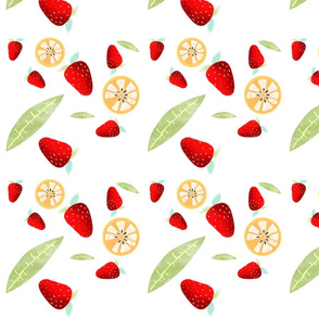 Orange Strawberry leaf fabric