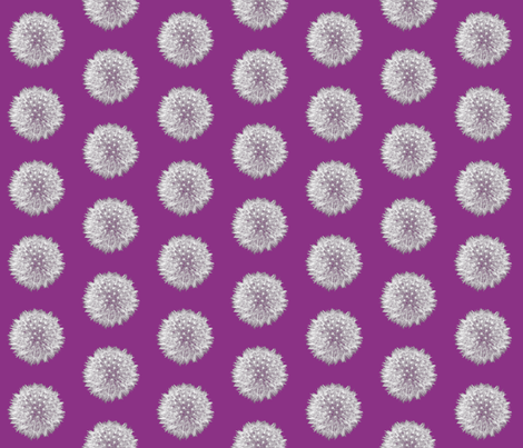 Mini Purple Dandelions fabric by nezumiworld on Spoonflower - custom fabric