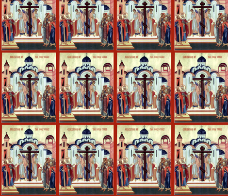 Exaltation of the Holy Cross icon fabric by rengal on Spoonflower - custom fabric