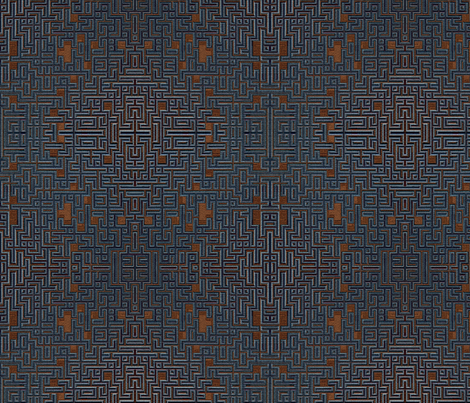 BlueBrown Maze fabric by nclames on Spoonflower - custom fabric