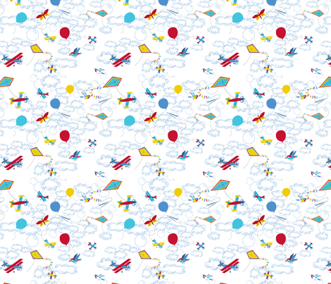Léon_s_envole_dans_le_ciel fabric by nadja_petremand on Spoonflower - custom fabric