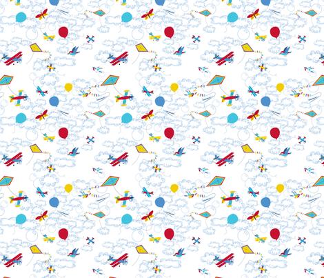 Léon_s_envole_dans_le_ciel fabric by nadja_petremand on Spoonflower - custom fabric