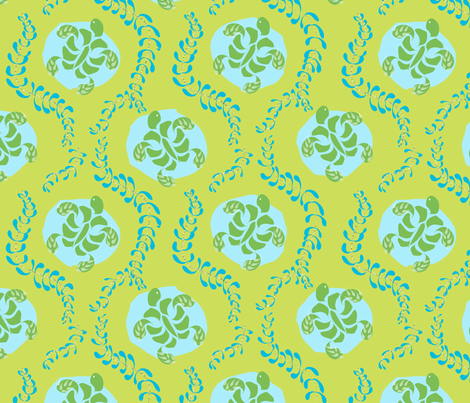 "SEATURTLE in ""LIMEADE"" fabric by trcreative on Spoonflower - custom fabric"