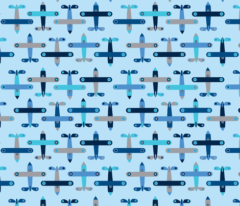avion_bleu fabric by nadja_petremand on Spoonflower - custom fabric