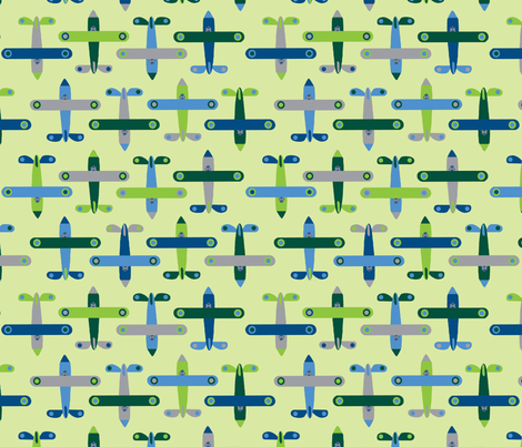 avion_vert fabric by nadja_petremand on Spoonflower - custom fabric