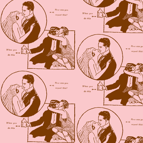 Love and Temperance in pink and brown fabric by edsel2084 on Spoonflower - custom fabric