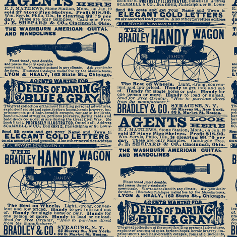 Deeds of Daring Blue & Gray 1890's farm catalog advertisement fabric by edsel2084 on Spoonflower - custom fabric