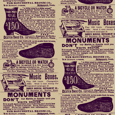 1890's fashion and entertainment ads fabric by edsel2084 on Spoonflower - custom fabric