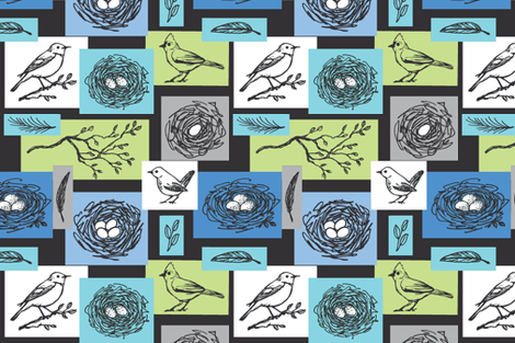 Sweet Beginnings in Blue fabric by angelaanderson on Spoonflower - custom fabric