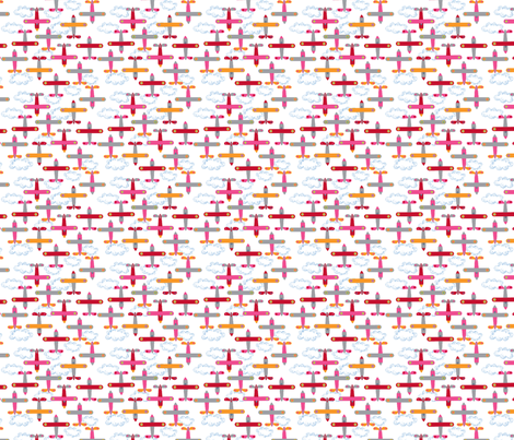 les_avions_de_léon_rose fabric by nadja_petremand on Spoonflower - custom fabric