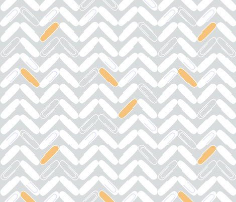 "PAPERCLIP CHEVRON  in ""CREAMSICLE"" fabric by trcreative on Spoonflower - custom fabric"