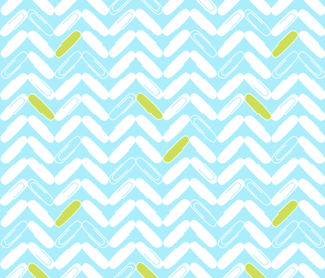 "PAPERCLIP CHEVRON in ""BLUEBIRD"" fabric by trcreative on Spoonflower - custom fabric"