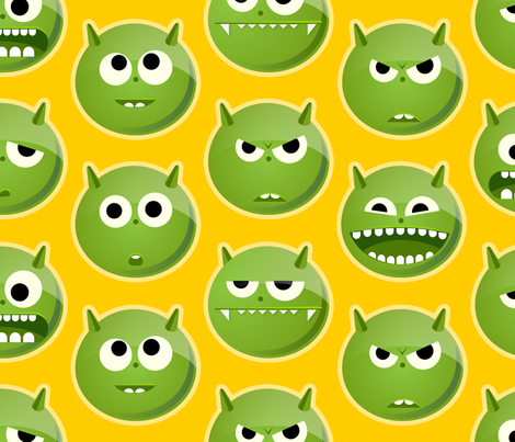 Green Monsters fabric by evaneckard on Spoonflower - custom fabric