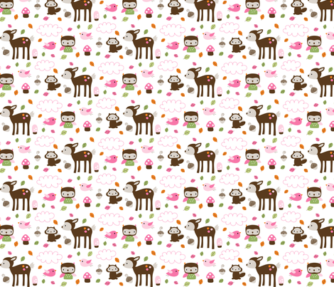 Woodsie Cuties - In Pink fabric by misstiina on Spoonflower - custom fabric