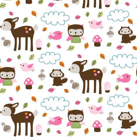 Woodsie Cuties - In Pink fabric by misstiina on Spoonflower - custom fabric