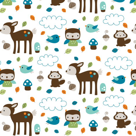 Woodsie Cuties - In Blues fabric by misstiina on Spoonflower - custom fabric