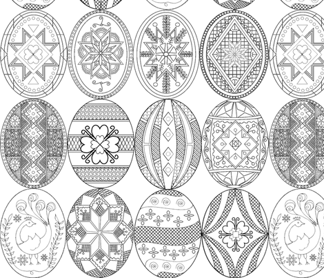Pysanky, Easter Eggs (larger version; different designs) fabric by rengal on Spoonflower - custom fabric