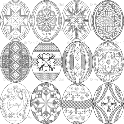 Pysanky, Easter Eggs (larger version; different designs)