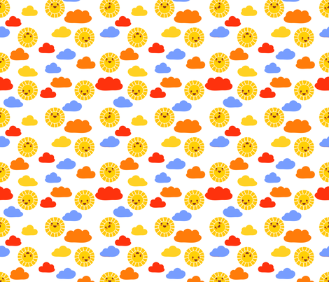 Sunny sunshine | white fabric by irrimiri on Spoonflower - custom fabric