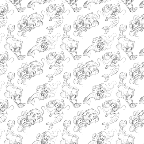 Mermai Sketches fs fabric by irrimiri on Spoonflower - custom fabric