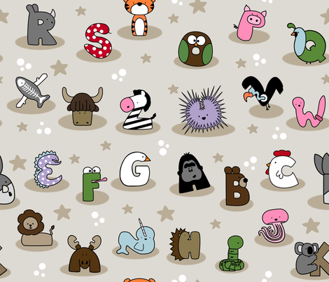 Animal Alphabet Show- Large fabric by mayabella on Spoonflower - custom fabric