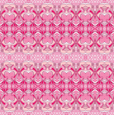 Art Nouveau Valentine in pink fabric by edsel2084 on Spoonflower - custom fabric