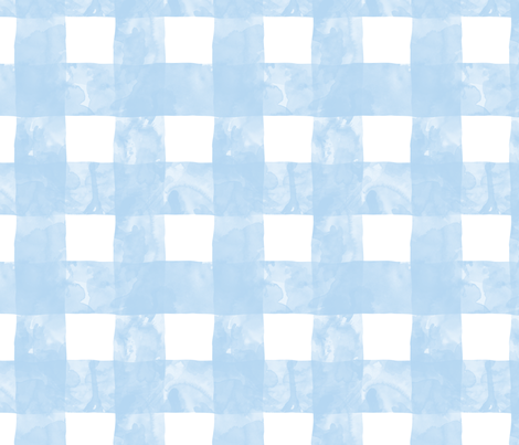 Painted Gingham (Blue Skies) fabric by leighr on Spoonflower - custom fabric