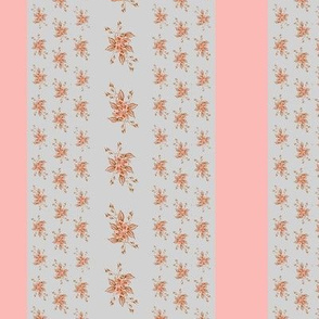 Roses Antique pink and gray stripe