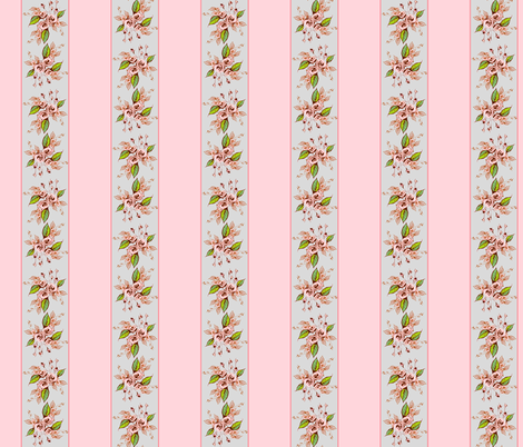 Roses Stripe light pink dainty fabric by joanmclemore on Spoonflower - custom fabric