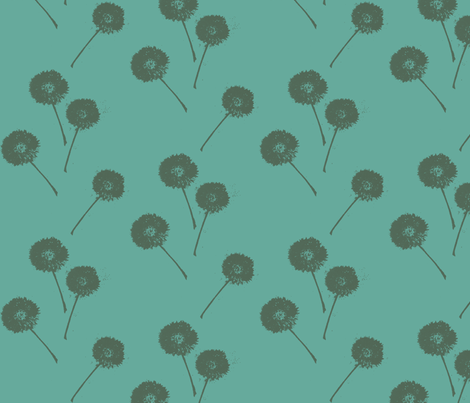 Dandelions on Teal fabric by retrofiedshop on Spoonflower - custom fabric