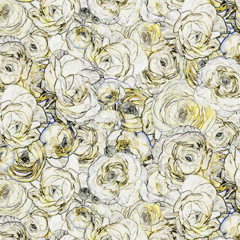 Yellow Ranunculus fabric by mag-o on Spoonflower - custom fabric