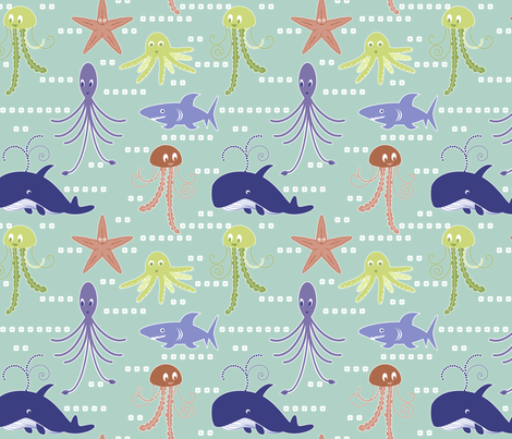 Sea life fabric by marlene_pixley on Spoonflower - custom fabric
