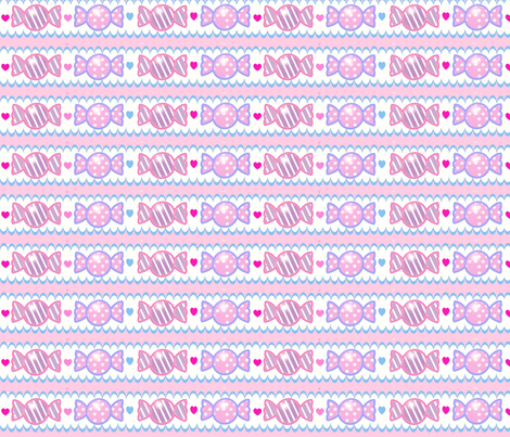 Unicorn Fantasy Pastel Pink Candy Border  fabric by pinkmacaroon on Spoonflower - custom fabric