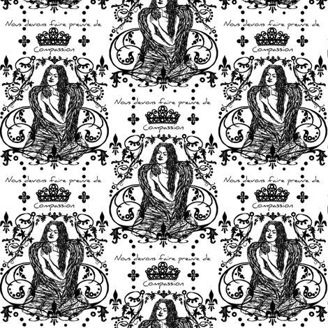 Compassion / black and white fabric by paragonstudios on Spoonflower - custom fabric