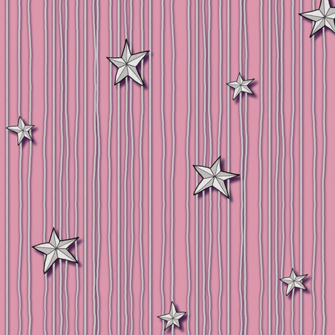 Paper Stars Pink fabric by celestegs on Spoonflower - custom fabric