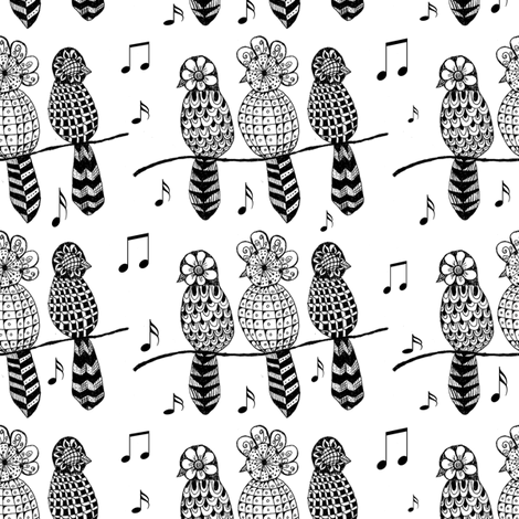 Bird_choir_on_a_wire_copy fabric by kickyc on Spoonflower - custom fabric