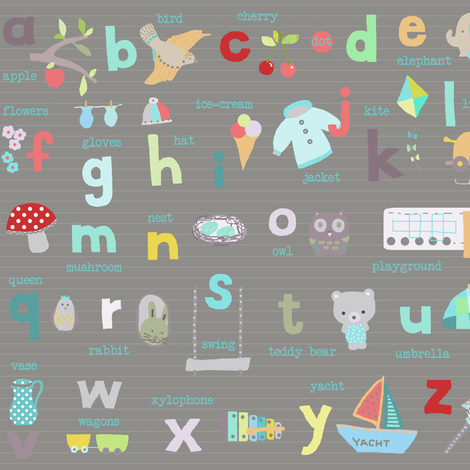 baby alphabet fabric by katarina on Spoonflower - custom fabric