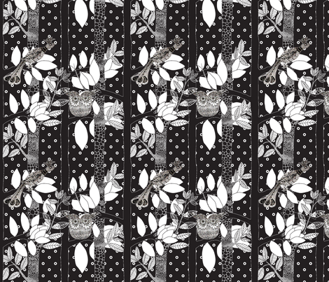 arbre_magique_in_black_dots_M fabric by nadja_petremand on Spoonflower - custom fabric
