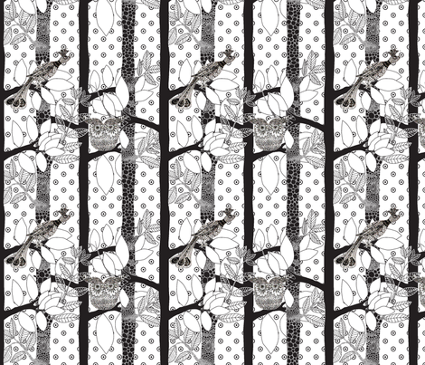 arbre_magique_in_white_M fabric by nadja_petremand on Spoonflower - custom fabric