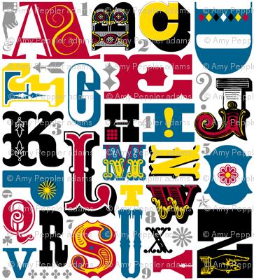 Woodtype Alphabet (Primary Colors) || letterpress wood type typography western circus alphabet