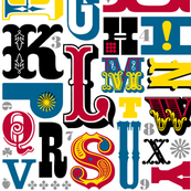 Woodtype Alphabet (Primary Colors) || letterpress wood type typography western circus alphabet