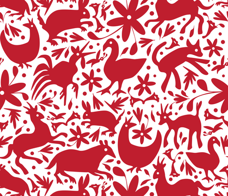Mexico Springtime: Red on White (Large Scale) fabric by sammyk on Spoonflower - custom fabric
