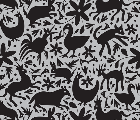 Mexico Springtime: Black on Grey (Large Scale) fabric by sammyk on Spoonflower - custom fabric