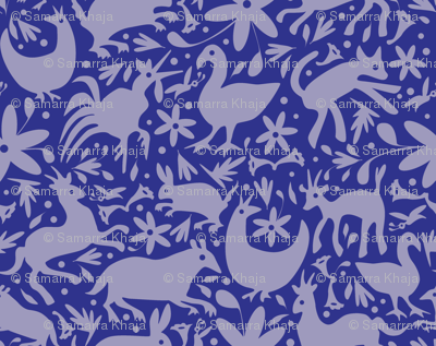Mexico Springtime: Cornflower on Navy (Large Scale)