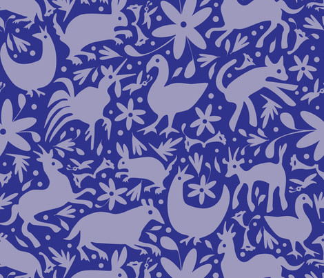 Mexico Springtime: Cornflower on Navy (Large Scale) fabric by sammyk on Spoonflower - custom fabric