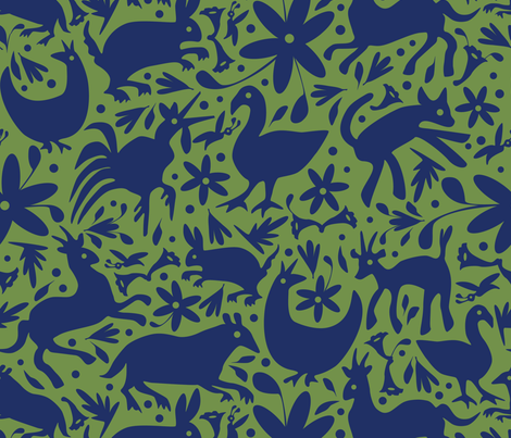 Mexico Springtime: Navy on Olive (Large Scale) fabric by sammyk on Spoonflower - custom fabric