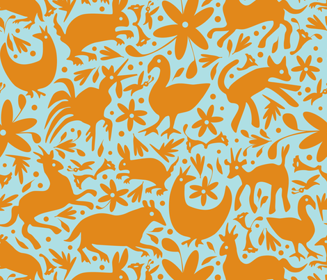 Mexico Springtime: Orange on Light Blue (Large Scale) fabric by sammyk on Spoonflower - custom fabric