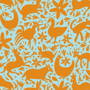 Mexico Springtime: Orange on Light Blue (Large Scale)