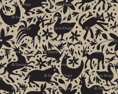 Mexico Springtime: Black on Linen (Small Scale)